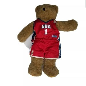 Build A Bear NBA Teddy Bear Brown with Jersey Red